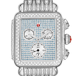 Deco Stainless Pavé Sapphire and Diamond Watch