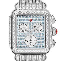 Deco Stainless Pavé Sapphire and Diamond Watch