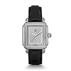 Art of Deco Diamond, Diamond Dial Black Alligator Watch