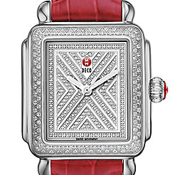 Art of Deco Diamond, Diamond Dial Garnet Alligator Watch