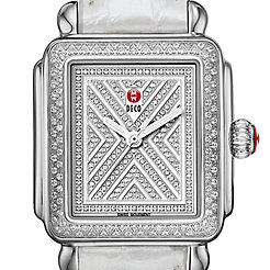Art of Deco Diamond, Diamond Dial Silver Alligator Watch