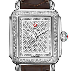 Art of Deco Diamond, Diamond Dial Espresso Alligator Watch