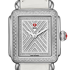 Art of Deco Diamond, Diamond Dial White Alligator Watch