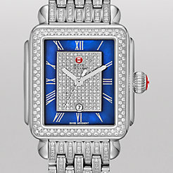 Deco Diamond, Blue Pav� Dial on Taper Diamond Bracelet Watch