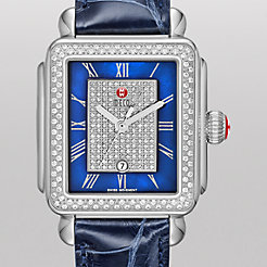 Deco Diamond, Blue Pav� Dial Navy Alligator Watch