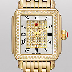 Deco Diamond Gold, Pav� Diamond Dial Watch