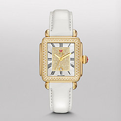 Deco Diamond Gold, Pav� Diamond Dial White Alligator Watch