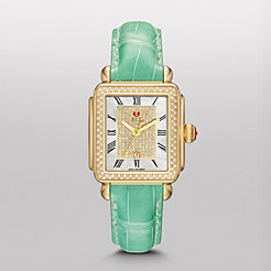 Deco Diamond Gold, White Pav� Diamond Dial Seafoam Alligator Watch