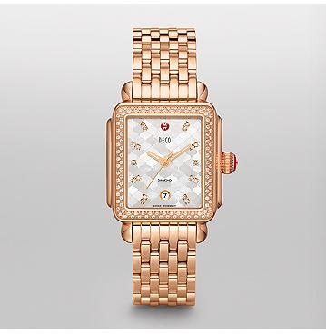 Deco Diamond Mosaic Rose Gold, Diamond Dial Watch - Michele Watches
