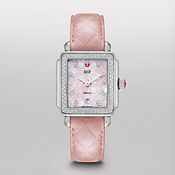 Deco Diamond, Pink Mosaic Diamond Dial Pearl Pink Quilted Watch