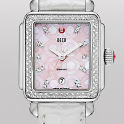 Deco Diamond, Pink Mosaic Diamond Dial Silver Alligator Watch