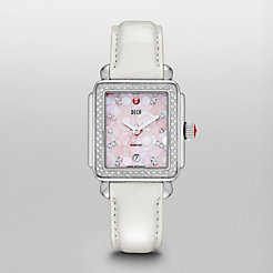 Deco Diamond, Pink Mosaic Diamond Dial White Alligator Watch