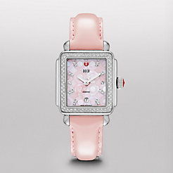Deco Diamond, Pink Mosaic Diamond Dial Pearl Pink Patent Watch