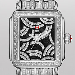 Art Of Deco Diamond, Black Diamond Dial Diamond Bracelet Watch