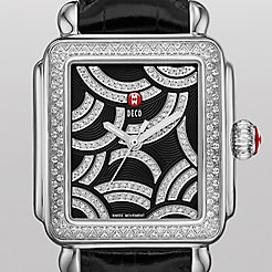 Art Of Deco Diamond, Black Diamond Dial Black Alligator Watch