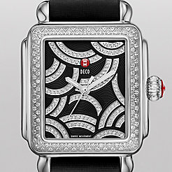 Art Of Deco Diamond, Black Diamond Dial Black Satin Watch