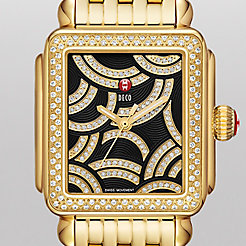 Art Of Deco Diamond Gold, Black Diamond Dial Watch