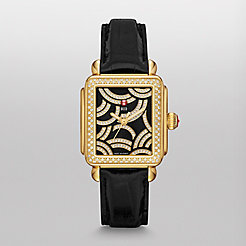 Art Of Deco Diamond Gold, Black Diamond Dial Black Alligator Watch