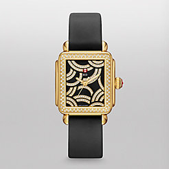 Art Of Deco Diamond Gold, Black Diamond Dial Black Satin Watch