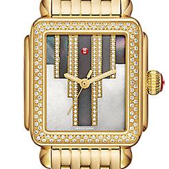 Deco Skyline Diamond Gold, Cocoa Diamond Dial Watch
