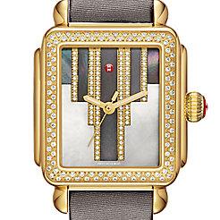 Deco Skyline Diamond Gold, Cocoa Diamond Dial Gray Satin Watch
