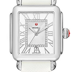Deco Madison, Diamond Dial White Leather Watch