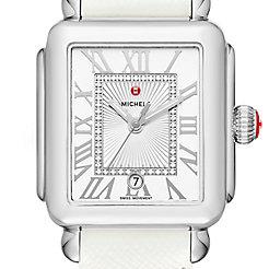 Deco Madison, Diamond Dial White Leather Watch