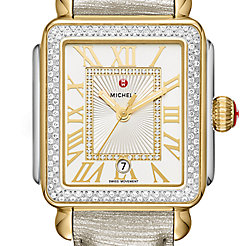 Deco Madison Diamond Two-Tone, Diamond Dial Gray Leather Watch