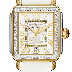 Deco Madison Diamond Two-Tone, Diamond Dial White Leather Watch