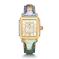 Deco Madison Two-Tone, Diamond Dial Multi Leather Watch