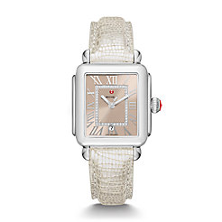 Deco Madison, Beige Diamond Dial Metallic Pearl Textured Leather Watch