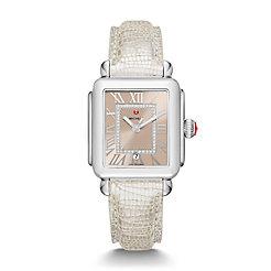 Deco Madison, Beige Diamond Dial Gray Leather Watch
