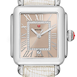 Deco Madison, Beige Diamond Dial Gray Leather Watch