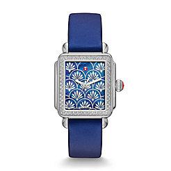Deco Fleur Diamond, Navy Pattern Dial Watch