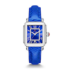 Deco Madison, Cobalt Diamond Dial Blue Lizard Watch