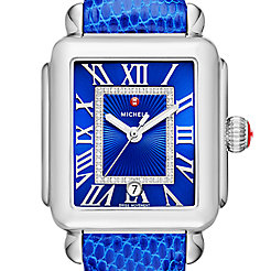 Deco Madison, Cobalt Diamond Dial Blue Lizard Watch