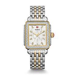 Deco Glamour, Two Tone, Diamond, Winter White Diamond Dial Watch