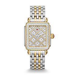 Deco Two-Tone Diamond Grid Diamond Watch