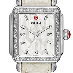 Deco Stainless Steel Mosaic Diamond Watch On Whisper White Snake Strap