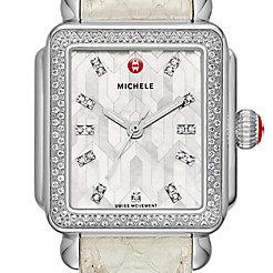 Deco Stainless Steel Mosaic Diamond Watch On Whisper White Snake Strap