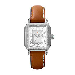 Deco Madison Stainless Steel Diamond Watch On Saddle Calf Strap