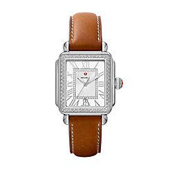 Deco Madison Stainless Steel Diamond Watch On Saddle Calf Strap