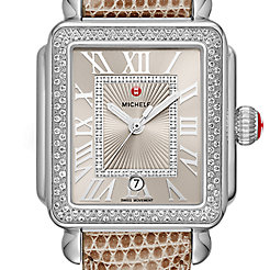 Deco Madison Stainless Steel Cashmere Diamond Watch on Cashmere Lizard Strap