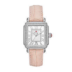 Deco Madison Stainless Steel Diamond Watch On Blush Alligator Strap