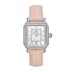 Deco Madison Stainless Steel Diamond Watch On Blush Alligator Strap