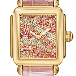 Deco Gold and Dusty Rose Alligator Diamond and Sapphire Watch