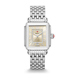 Deco Madison Stainless-Steel Champagne Diamond Dial Watch