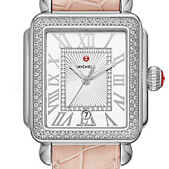 Deco Madison Stainless-Steel and Blush Alligator Diamond Watch