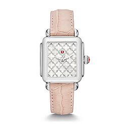 Deco Stainless-Steel Mosaic Dial and Blush Alligator Watch