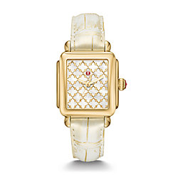 Deco Gold Mosaic Dial and Gold Wash Alligator Watch